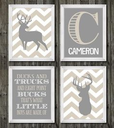 Deer nursery decor boys nursery art tan and by customedgestudio