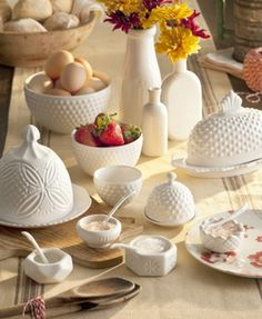 If your desires for your kitchen run toward classic & vintage, the 11 piece Farmhouse Pantry Collection from Rosanna,Inc. The translucent, opaque beauty of reproduction milk glass in pressed and hobnail porcelain. White Dishes, Carnival Glass, Glass Collection, Serving Dishes, Organizer, Milk Glass, Milk Jug, Decoration, Stuffed Peppers
