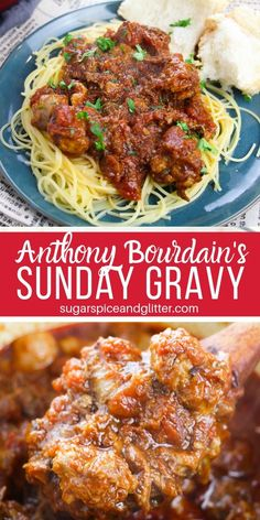 Simply the best spaghetti meat sauce you will ever make, Anthony Bourdain's Sund. - Simply the best spaghetti meat sauce you will ever make, Anthony Bourdain's Sunday Gravy is a mus - Spaghetti Meat Sauce, Spaghetti Recipes, Pasta Recipes, Best Spaghetti Recipe, Pasta Sauces, Game Recipes, Meat Sauce For Pasta, Tomato Sauce, Homemade Spaghetti Sauce