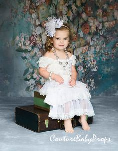 Vintage White Ruffle Lace Girls DRESS Ruffle by CoutureBabyProps $32.99- Ships from Denver + $6.00 s/h