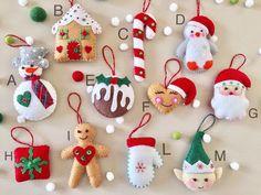 Set of Handmade Felt ornaments. Home decoration. Set of Handmade Felt ornaments. Elf Christmas Decorations, How To Make Christmas Tree, Handmade Christmas Tree, Felt Decorations, Felt Christmas Ornaments, Christmas Diy, Holiday, Theme Noel, Handmade Felt