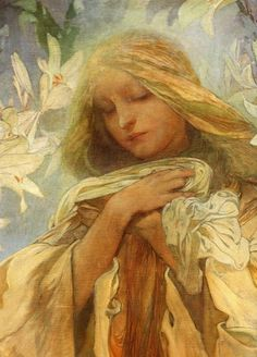 ⊰ Posing with Posies ⊱ paintings of women and flowers - Alphonse Mucha - Madonna of the Lilies
