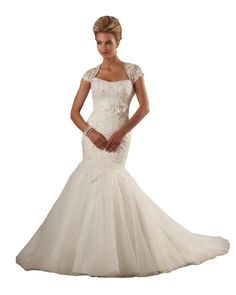 """Mermaid Wedding Dress Cap Sleeves Bonny Bridal Gown 201 Beaded - White, size 12. Authentic Bonny Bridal Wedding Dress - Style: 201. Size 12 = 38"""" Bust, 29"""" Waist, 40"""" Hips. Cap Sleeve Beaded Lace Bodice. Ruched Waist Band; Flowers; Mid Zip Back; Keyhole. Long Mermaid Skirt; Flared Tulle with Train; White."""