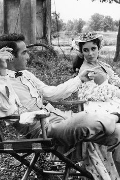 Elizabeth Taylor & Montgomery Clift on the set of Raintree County, 1956.