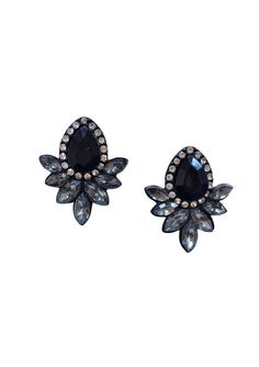 Beautiful in design, pretty in color, these timeless classic black earrings adorned by sparkling rhinestones are perfect for both casual or formal wear.