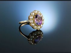 Antique victorian engagement ring with pearls and amethyst! England um 1890! Antiker Cluster Ring Gold 9 ct Amethyst Natur Perlen, Verlobungsringe bei Die Halsbandaffaire