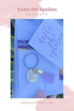 Spoil your new members this recruitment with the Pref Present bundle! Gift bag includes a sorority tassel keychain, hair tie set, and button set. Delta Phi Epsilon Gift Bags   Delta Phi Epsilon Bid Day   DPhiE New Member Gifts   Delta Phi Epsilon Recruitment   Sorority Bid Day   Sorority Recruitment   Bid Day Bags   Sorority New Member Gift Ideas #BidDayGifts #SororityRecruitment Omega Alpha, Alpha Epsilon Phi, Phi Sigma Sigma, Alpha Sigma Alpha, Kappa Delta, Sorority Bid Day, Sorority Recruitment, Bid Day Gifts, Bid Day Themes