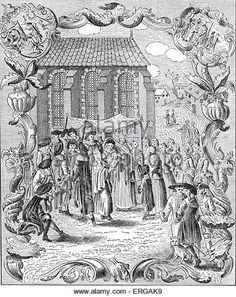 Jewish wedding ceremony under marriage canopy (huppah, chuppah, chuppa) amongst the German (Ashkenazi ) Jews.Published - Stock Image