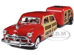 1949 Ford Woody Wagon with Tear Drop Trailer 1/24 by Motormax $22.99