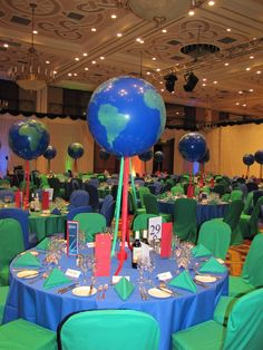 Rosh Hashana/Birthday of the World: If you want to follow a world birthday scheme for Rosh Hashana, blue and green are the obvious choice for choler schemes. These decorations would work well for everyone at your party. For more Rosh Hashanah ideas, follow Everyday Simchas Rosh Hashana Boards!