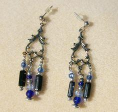 Beautiful Chandelier Earrings - Handmade Silver & Blue AB, Elegant, Office or Casual by JewelryArtistry - E512 - pinned by pin4etsy.com