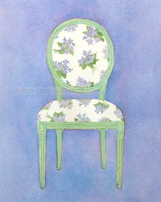 """watercolor french chair watercolor violet bouquets archival print of original painting 5"""" x 7"""""""