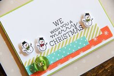 A Muse Studio Christmas in Our Town card - tiny snowman - bjl