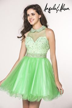 Angela And Alison Fall 2015 Homecoming Dresses High Neck Appliqued Beaded Green Pink Tulle A Line Graduation Gowns with Keyhole Back Mini from Nicedressonline,$142.41   DHgate.com