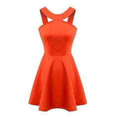Orange Round Neck Sleeveless Cutout Style Sexy A-line Dress (30 CAD) ❤ liked on Polyvore featuring dresses, sexy orange dress, sexy red cocktail dress, a line dress, red orange dress and sexy cut out dresses