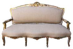 """Louis XV-Style Giltwood Settee - Size:     72"""" L x 34"""" W x 46"""" H"""