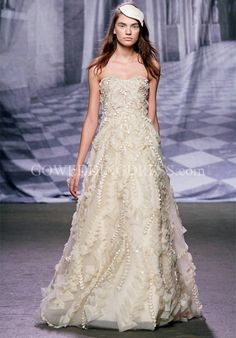 A-Line Strapless Floor Length Attached Embellished Chantilly Lace/ Organza/ Embroidered Tulle Beading/ Embroidery Wedding Dress