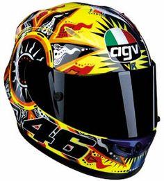 "AGV Valentino ""The Doctor"" Rossi replica helmet Pink Motorcycle, Motorcycle Helmet Design, Motorcycle Outfit, Motorcycle Helmets, Valentino Rossi Helmet, Valentino Rossi 46, Agv Helmets, Racing Helmets, S1000r Bmw"