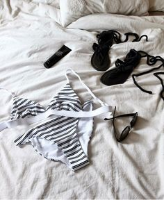Packing for Bali with Josie Barber of Styled by Barber - everything monochrome with our Double stripe Bralette bikini top and Low riser bottoms - RH Swimwear Bralette Bikini, Bikini Swimwear, Bikini Tops, Swimsuits, Bikinis, Recycled Fabric, Bikini Fashion, Barber, One Piece Swimsuit