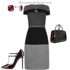 """""""Black with Red Work"""" by lisa-eurica on Polyvore"""