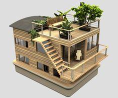 """""""En lugar de encarnar la permanencia, la solidez y la longevidad, la percepción debe hacer hincapié en el cambio, en la adaptación"""". Danai Thaitakoo Funcional al medio ambiente, y a la necesidad humana y despojada de la idea de un terreno fijo, Las casas flotantes pueden producir su propia agua, reciclar sus efluentes y residuos, … Tiny House Design, Modern House Design, Popsicle Stick Houses, Casas Containers, Bamboo House, Floating House, Miniature Houses, House Layouts, Model Homes"""