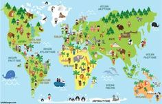 Funny cartoon world map with children of different nationalities, animals and monuments of all the continents and oceans. Vector illustration for preschool education and kids design. Continents And Oceans, Spanish Names, Five In A Row, Preschool Education, Kids Poster, Play To Learn, Animals Of The World, Free Vector Art, Montessori