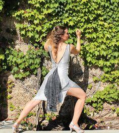 Silver High Low Dress Draped Tango Dress Deep V-Back Dress