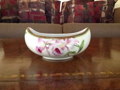Royal Bavaria Boat Shaped Pink Orchid Art Nouveau Bowl by Artist Dubois by AlbertsonMiller on Etsy