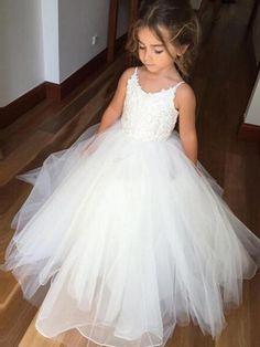 Cute A-line Straps White Long Flower Girl Dress
