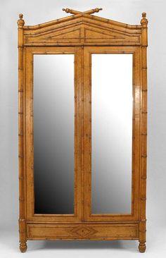 Bamboo faux bamboo cabinet/case-piece armoire bird's eye maple