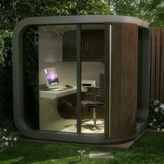 Garden Office Ideas – Garden Office Pods and Garden Office Shed - Decoration 2 Garden Office Shed, Backyard Office, Modern Backyard, Prefab Office, Modular Office, Garden Pods, Office Pods, Office Cube, Tiny Office
