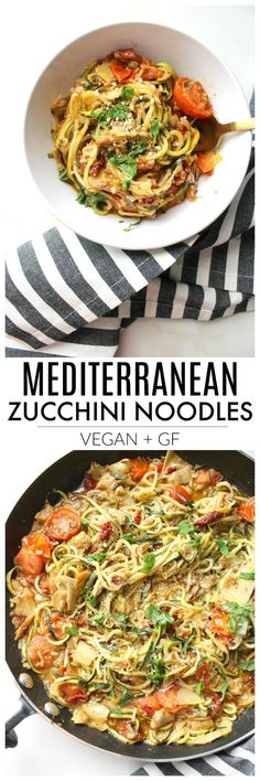 """Lighten up """"pasta night"""" with these Mediterranean Zucchini Noodles. A simple dinner recipe that combines cherry tomatoes, sun-dried tomatoes & artichoke hearts   ThisSavoryVegan.com #zoodles #veganpasta"""