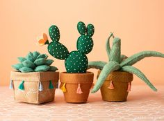 This felt bunny ear cactus come in a cute felt pot and features a tiny felt flower. Learn how to make your own version with our template and tutorial. Felt Crafts Diy, Felt Diy, Fabric Crafts, Fun Crafts, Sewing Crafts, Sewing Projects, Felt Templates, Applique Templates, Applique Patterns