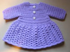 Bella Bambina: Sweater Dress Pattern  This dress should fit a 6-8 lb newborn baby.The Lavender dress is made with Pound of Love yarn, and the other is made with Simply Soft yarn in Off White and Soft Pink.G7 hooklight WW yarn such as Simply Soft or Pound of love.Bodice-Ch 36row 1: DC in 4th CH from hook and next 3 chs, 3DC in next ch,DC in next 5 chs,3DC in next ch,DC in next 10 chs,3DC in next ch,DC in next 5 chs,3DC in next ch,DC in last 5 chs. Ch 2, turn.rows 2-5: D