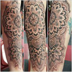 My Mandala tattoo by Matthew Pardo Mandala Tattoo Leg, Leg Tattoos, Boho, Space, Display, Bohemian, Bohemian Decorating