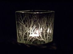 Winter Trees, Etched Glass Candle Holder, Medium could diy it