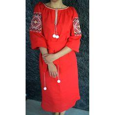 Embroidered Red Dress /Ukrainian Dress / Boho Chic Dress / Vyshyvanka / Vita Kin Style Dress / Linen Dress / Embroidered Linen Dress /Size M on Etsy