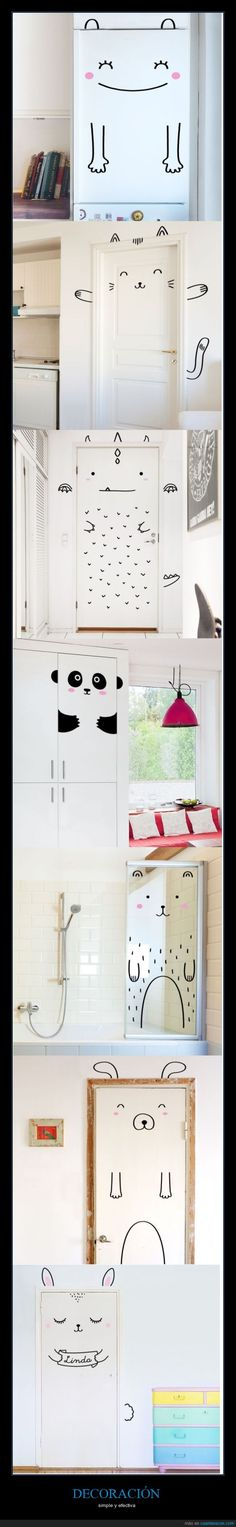 Fun graphic animal doors - great DIY inspiration for a kids room!