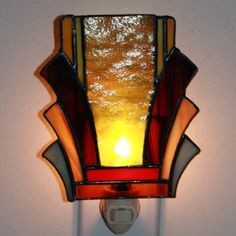 Art Deco Stained Glass Night Light 2 by helixartandglass on Etsy, $26.00