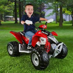 Have to have it. Peg Perego Polaris Outlaw ATV Battery Powered Riding Toy - Red - $279.99 @hayneedle.com