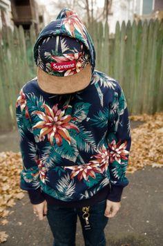 supreme sweatshirt and cap - flowers