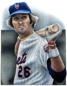 """""""Kong"""" Dave Kingman colored pencil illustration by Ken Jones. New York Mets, Ny Mets, Lets Go Mets, How Soon Is Now, Diamonds In The Sky, Baseball Art, Chicago Area, Sports Art, Pencil Illustration"""