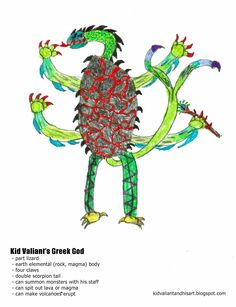 Kid Valiant and His Art: Rock, Paper, Lizards Greek Mythology, Monsters, Lizards, Kid, Child, Boy, Drawing, Art, Illustration