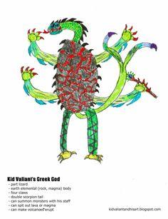 Kid Valiant and His Art: Rock, Paper, Lizards Greek Mythology, Monsters, Lizards, Kid, Child, Boy, Drawing, Art, Illustration