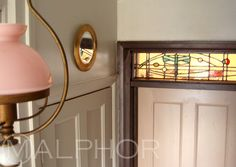 Decorating the Hall - Round Brass Mirror Farrow and Ball - Dead Salmon Door - Mahogany Woodwork - Pavilion Grey Wall