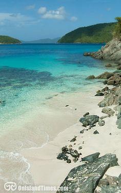 Cinnamon Bay Beach on St John's beautiful north shore. Beautiful white sand, aqua water, palms and fantastic snorkeling!