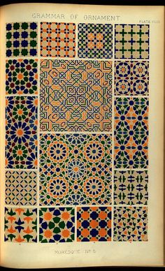 Selections of designs taken from 'The Grammar of Ornament' by Owen Jones. Published 1856 by Day &. Cultural Patterns, Islamic Patterns, Ethnic Patterns, Graphic Patterns, Geometric Patterns, Tile Patterns, Art Deco Pattern, Pattern Design, Fabric Design