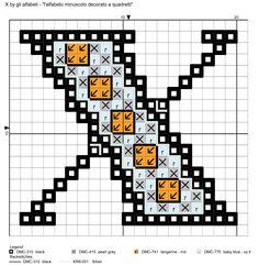 alfabeto minuscolo decorato a quadretti X
