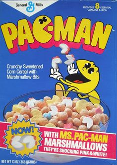 Pac-Man cereal (1983)...with Ms. Pac-Man marshmallows!
