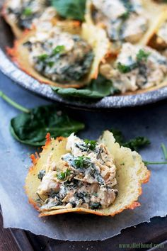 Creamy, cheesy, spicy Spinach and Artichoke Dip served in delicious, homemade Parmesan Cups.